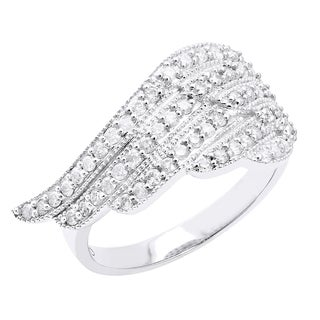 Beverly Hills Charm 10k White Gold 1/2ct TDW Diamond Angel Wing Ring