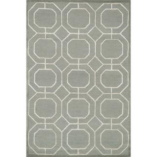 Hand-hooked Carolyn Sage/ Ivory Rug (5'0 x 7'6)