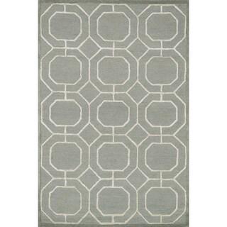 Hand-hooked Carolyn Sage/ Ivory Rug (7'6 x 9'6)