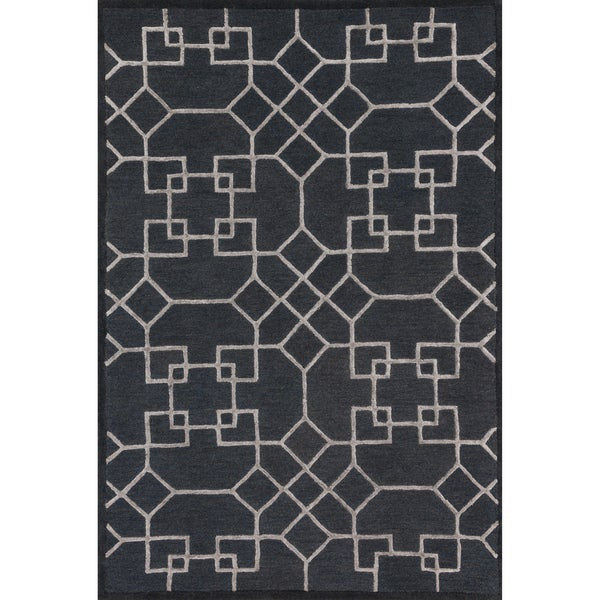 """Hand-hooked Charcoal/ Silver Contemporary Geometric Rug - 9'3"""" x 13'"""