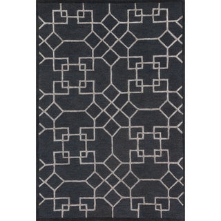 Hand-hooked Carolyn Charcoal/ Silver Rug (9'3 x 13')