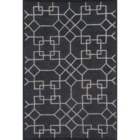 Hand-hooked Charcoal/ Silver Contemporary Geometric Rug - 9'3 x 13'