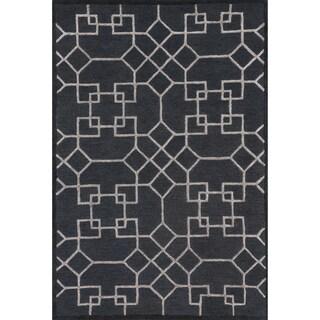 Hand-hooked Carolyn Charcoal/ Silver Rug (9'3 x 13')