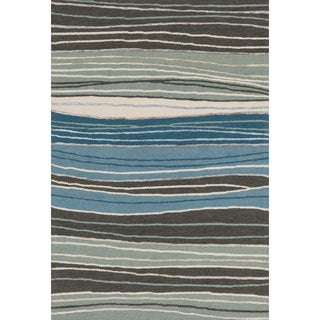 Hand-hooked Carolyn Grey/ Blue Stripe Rug (3'6 x 5'6)
