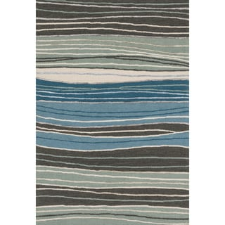 Hand-hooked Carolyn Grey/ Blue Stripe Rug (2'3 x 3'9)