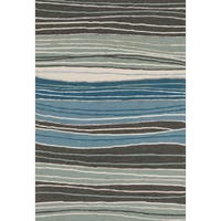 Hand-hooked Carolyn Grey/ Blue Stripe Rug - 7'6 x 9'6