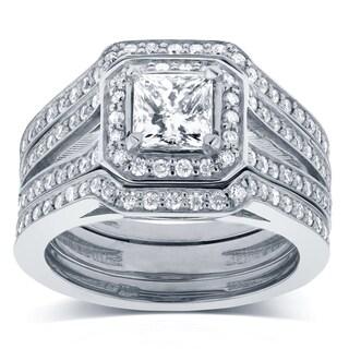 Annello by Kobelli 14k White Gold 1 1/2ct TDW Princess Diamond Halo Split Band 3-piece Bridal Rings