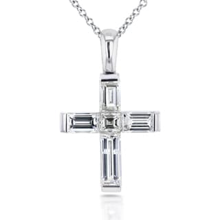 Annello by Kobelli 18k White Gold 1 1/4ct TDW Asscher and Baguette Diamond Cross Pendant and 14k Cha