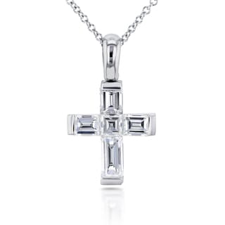 Annello 18k White Gold 1 1/10ct TDW Asscher and Baguette Diamond Cross Pendant and Chain (F-G, VS-SI)
