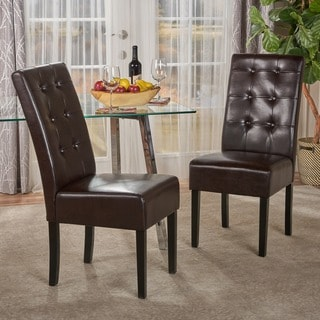 Josiah Bonded Leather Dining Chair (Set of 2) by Christopher Knight Home