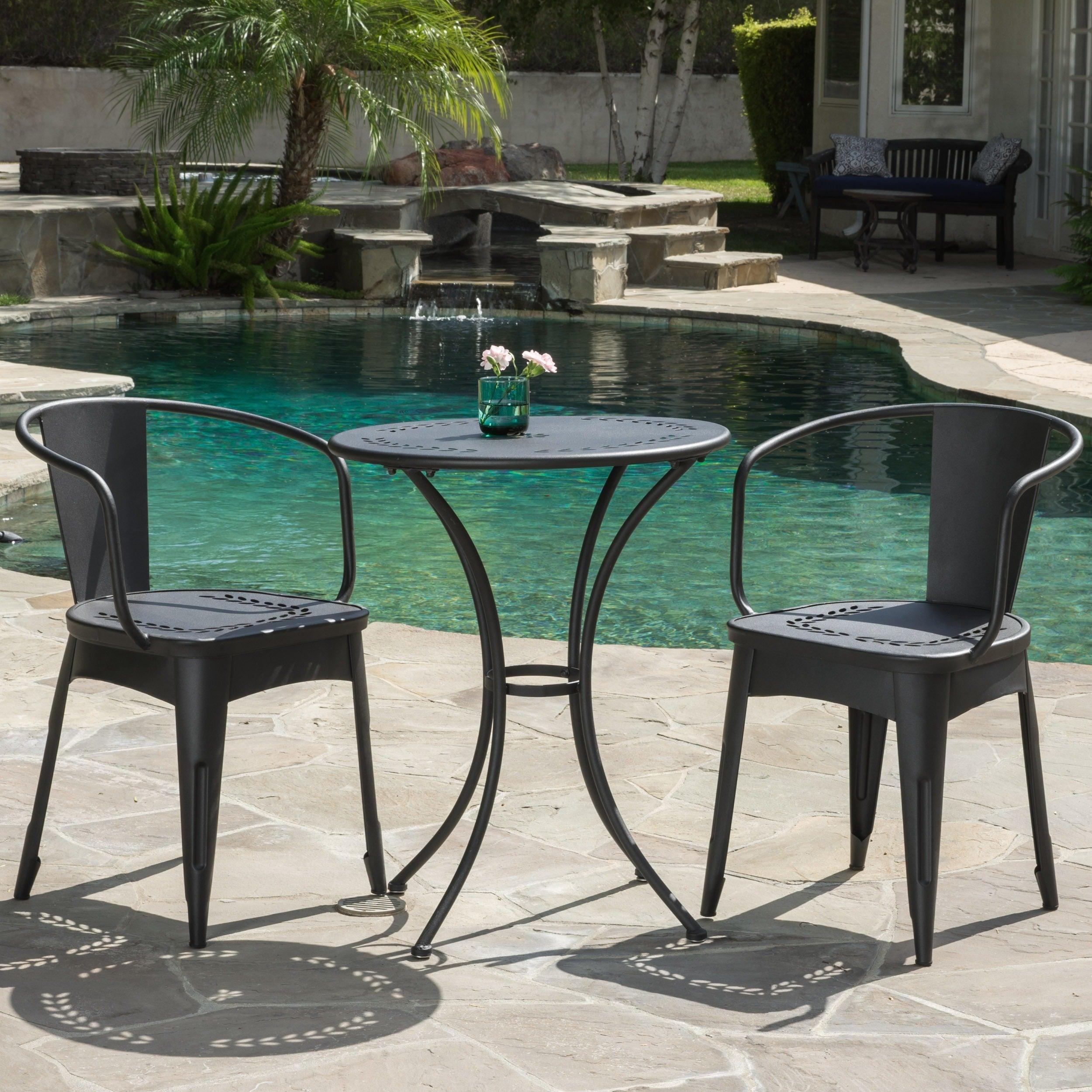 Bistro Set Outdoor Coffee Table Cast Iron Garden Patio