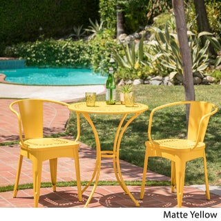 Lourdes Outdoor 3-piece Cast Bistro Set by Christopher Knight Home (Option: Matte Yellow)