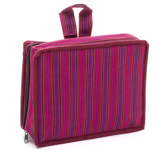 Handmade Pink Stripe Cosmetic Travel Bag (Guatemala)