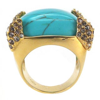 De Buman 18k Yellow Gold Plated Created Turquoise and Crystal Ring