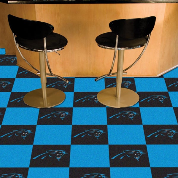 Fanmats Carolina Panthers Black and Turquoise Carpet Tiles