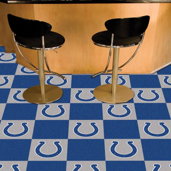 Shop Fanmats Indianapolis Colts Blue And Grey Carpet Tiles   Free Shipping  Today   Overstock   10527558