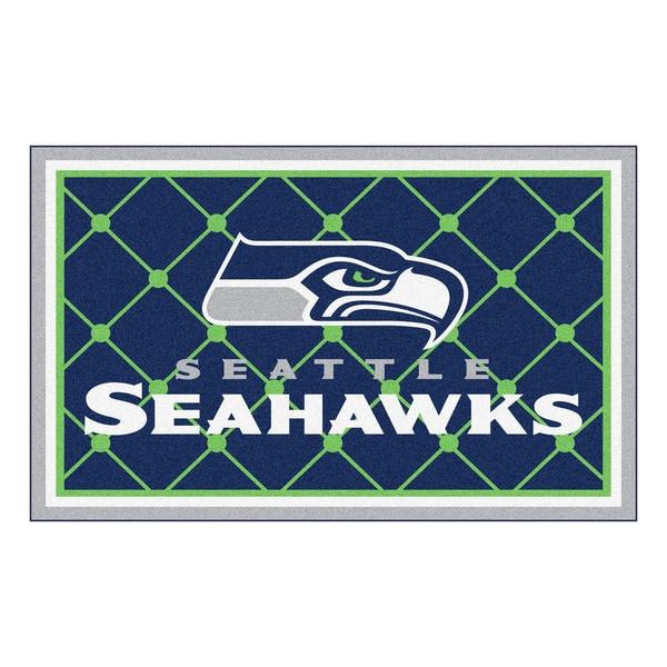 Fanmats Seattle Seahawks 3 Ft X 6 Ft Football Field: Shop Fanmats Seattle Seahawks Blue Nylon Area Rug (4' X 6