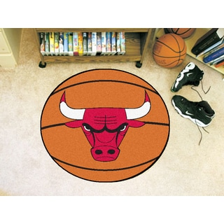 "Fanmats Chicago Bulls Orange Nylon Basketball Mat (2'2"" x 2'2"")"