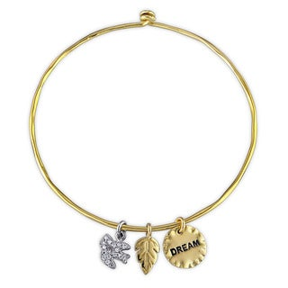 Miadora Two-tone Sterling Silver Cubic Zirconia Charm Bangle Bracelet
