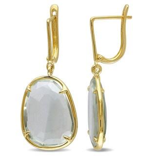Miadora Yellow Silver Prasiolite Dangle Earrings