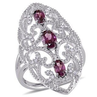 Miadora Sterling Silver Rhodolite and 1/8ct TDW Diamond Vintage Long Finger Ring (G-H, I2-I3) (4 options available)