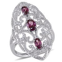 Miadora Sterling Silver Rhodolite and 1/8ct TDW Diamond Vintage Long Finger Ring (G-H, I2-I3) - Red