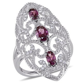 Miadora Sterling Silver Rhodolite and 1/8ct TDW Diamond Vintage Long Finger Ring (G-H, I2-I3) - Red (3 options available)