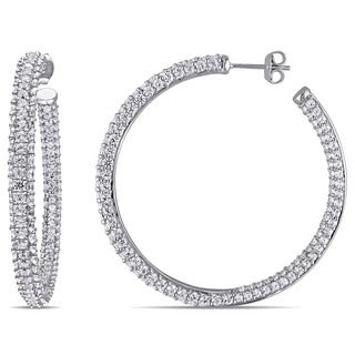 Miadora Sterling Silver Created White Sapphire Hoop Earrings