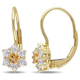 Miadora 10k Yellow Gold Children's Citrine and White Sapphire Flower Earrings