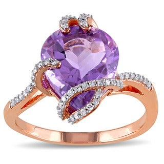 Miadora 10k Rose Gold Amethyst and 1/6ct TDW Diamond Cocktail Bypass Ring (G-H, I2-I3)