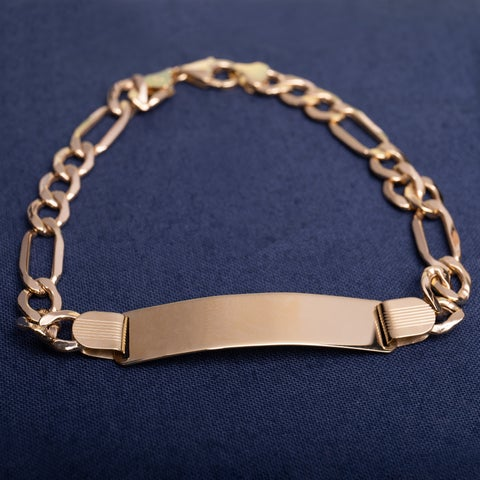 Miadora 10k Yellow Gold Mens ID Link Bracelet
