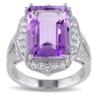 Miadora Sterling Silver Amethyst, Topaz and 1/10ct TDW Diamond Cocktail Ring (G-H, I2-I3)
