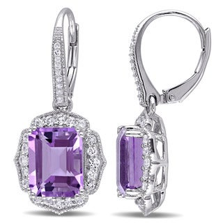 Miadora Sterling Silver Amethyst, White Topaz and Diamond Accent Dangle Earrings