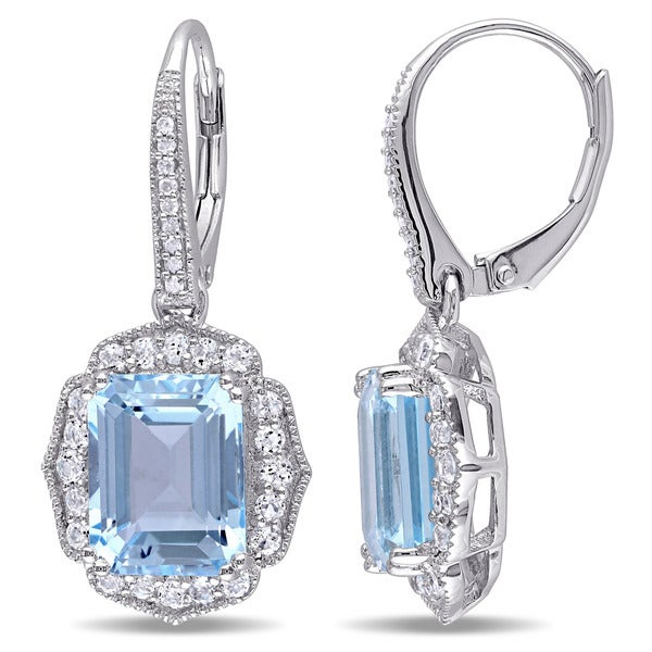 Miadora Sterling Silver Topaz and Diamond Accent Dangle Earrings