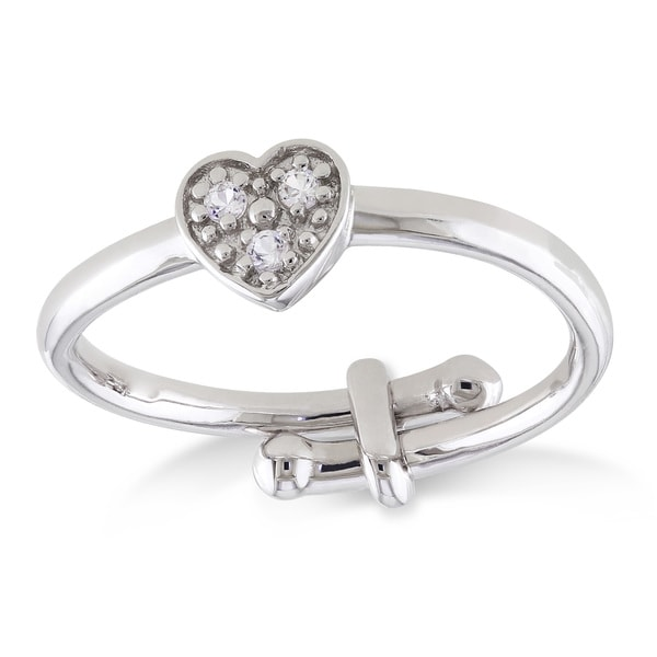 Miadora Sterling Silver Children's Created White Sapphire Adjustable Heart Ring