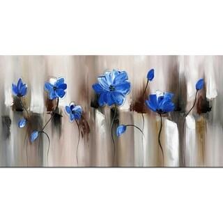 Design Art 'Blue Modern Flower' Blue Canvas Art Print - 32x16 Inches