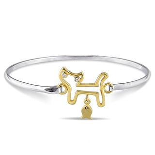 Miadora Two-tone Sterling Silver White Sapphire Cat Bangle Bracelet