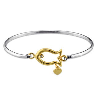 Miadora Two-tone Sterling Silver White Topaz Fish Bangle Bracelet