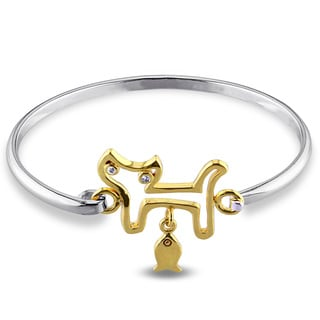 Miadora Two-tone Sterling Silver White Topaz Cat Bangle Bracelet