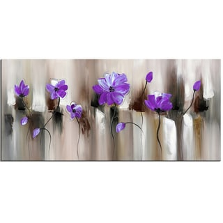 Design Art 'Blue Modern Flower' Purple Canvas Art Print - 32x16 Inches