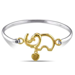Miadora Two-tone Sterling Silver Elephant Bangle Bracelet