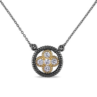 Miadora Yellow Plated Sterling Silver Cubic Zirconia Circle Necklace