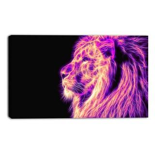 Design Art 'On the Watch' Purple Lion Canvas Art Print - 40x20 Inches