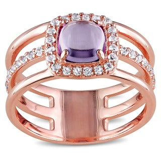 Miadora Rose Plated Silver Amethyst and White Topaz Halo Ring