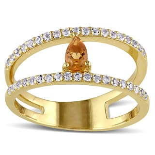 Miadora Yellow Silver Citrine and White Topaz Double Band Ring