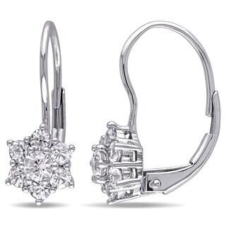 Miadora 10k White Gold White Sapphire Flower Halo Earrings