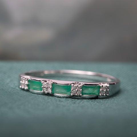 Miadora 10k White Gold Emerald and Diamond Accent Eternity Ring - Green