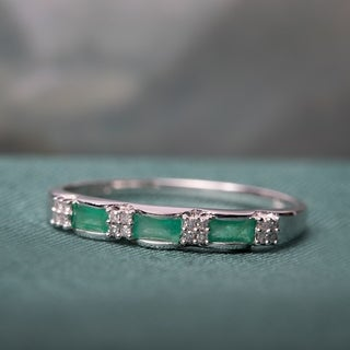 Miadora 10k White Gold Emerald and Diamond Accent Eternity Ring