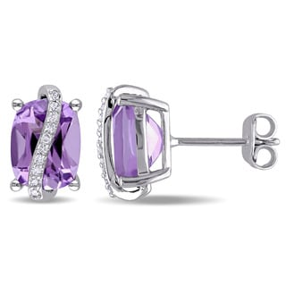 Miadora Sterling Silver Amethyst and 1/10ct TDW Diamond Stud Earrings (G-H, I2-I3)