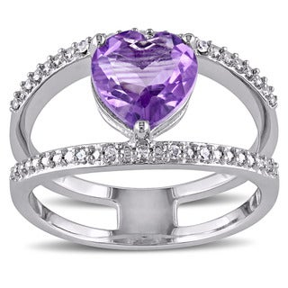 Miadora Sterling Silver Amethyst and White Diamond Accent Double Band Heart Ring